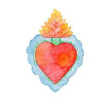 Bright watercolor sacred heart Photographic Print