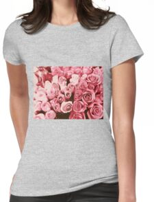 painting fresh pink roses texture background Womens Fitted T-Shirt