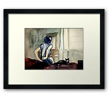 maybe she was more cat than human, she thought Framed Print
