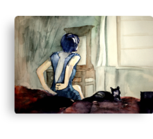 maybe she was more cat than human, she thought Canvas Print