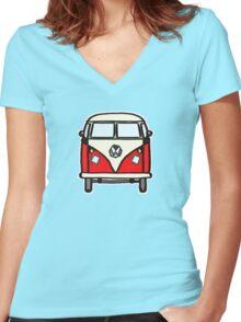Red White Campervan (slightly cubist) Women's Fitted V-Neck T-Shirt