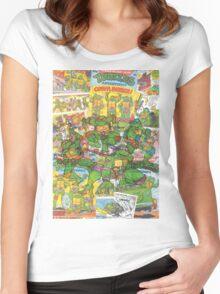 Vintage Comic Teenage Mutant Hero Turtles Women's Fitted Scoop T-Shirt
