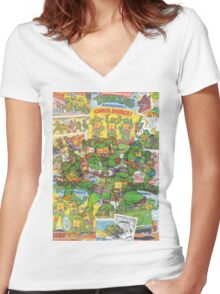 Vintage Comic Teenage Mutant Hero Turtles Women's Fitted V-Neck T-Shirt