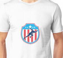 Sprinter Runner Running Shield Woodcut Retro Unisex T-Shirt
