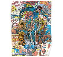 Vintage Comic Fantastic Four Poster