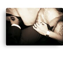 Bride and groom holding hands in wedding marriage party silver gelatin black and white 35mm negative analog film sepia photo  Canvas Print
