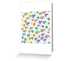 Abstract color cartoon fishes in the sea Greeting Card