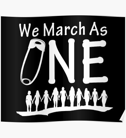 We March As One - #safetypin for #solidarity, reverse - large posters, wall hangings Poster