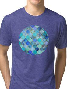 Cobalt Blue, Aqua & Gold Decorative Moroccan Tile Pattern Tri-blend T-Shirt