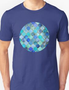 Cobalt Blue, Aqua & Gold Decorative Moroccan Tile Pattern Unisex T-Shirt