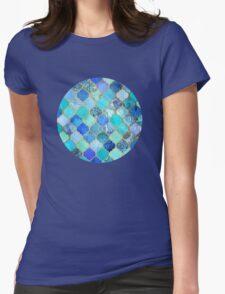 Cobalt Blue, Aqua & Gold Decorative Moroccan Tile Pattern Womens Fitted T-Shirt