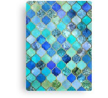 Cobalt Blue, Aqua & Gold Decorative Moroccan Tile Pattern Canvas Print