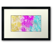 pink blue and yellow flowers abstract background Framed Print