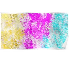 pink blue and yellow flowers abstract background Poster
