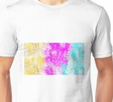 pink blue and yellow flowers abstract background Unisex T-Shirt