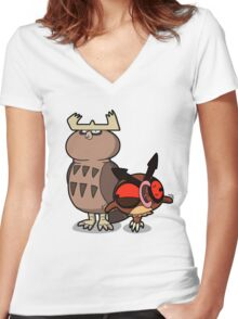 Owl mess you up! Women's Fitted V-Neck T-Shirt