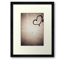 Love heart painted on urban city wall silver gelatin black and white 35mm negative analog film photograph Framed Print