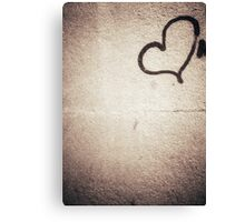 Love heart painted on urban city wall silver gelatin black and white 35mm negative analog film photograph Canvas Print