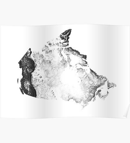 Canada mapped by sunset shadows Poster