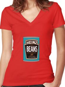 Retro Heinz Baked Beans Can PopArt Women's Fitted V-Neck T-Shirt
