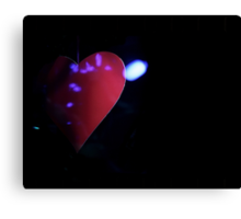 Saint Valentines day red love heart in darkness 35mm negative analog film photograph Canvas Print