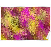pink and yellow flowers abstract background Poster