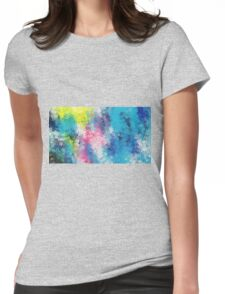 blue yellow and pink flowers abstract background Womens Fitted T-Shirt