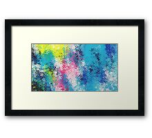 blue yellow and pink flowers abstract background Framed Print