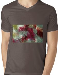 red blue and green flowers abstract background Mens V-Neck T-Shirt