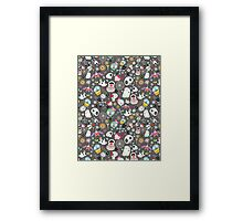 pattern of funny skulls and ghosts  Framed Print