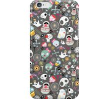 pattern of funny skulls and ghosts  iPhone Case/Skin