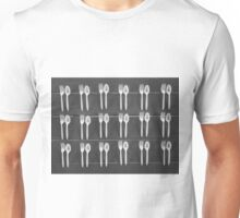 spoons and forks on the table in black and white Unisex T-Shirt