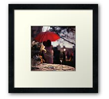 Summer rain - glass of champagne on table in garden wedding party Hasselblad  analog film still life photo Framed Print