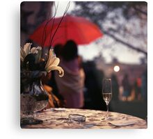 Summer rain - glass of champagne on table in garden wedding party Hasselblad  analog film still life photo Metal Print