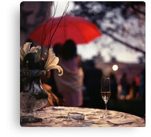 Summer rain - glass of champagne on table in garden wedding party Hasselblad  analog film still life photo Canvas Print