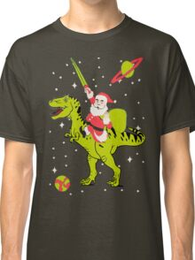 Santa Riding Dinosaur -Christmas Coming Classic T-Shirt