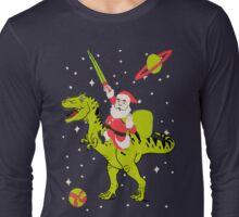 Santa Riding Dinosaur -Christmas Coming Long Sleeve T-Shirt