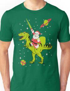 Santa Riding Dinosaur -Christmas Coming Unisex T-Shirt