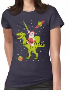 Santa Riding Dinosaur -Christmas Coming Womens Fitted T-Shirt