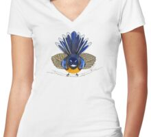 Fantail bird Women's Fitted V-Neck T-Shirt