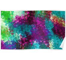 blue pink red purple and green flowers abstract background Poster