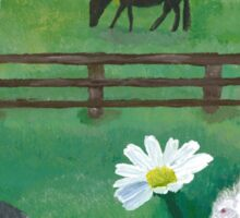 Countryside Horses & Buns Amid the Daisies Sticker