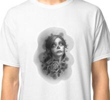Day of the Dead Girl Black and White Pencil Sketch T-Shirt Classic T-Shirt