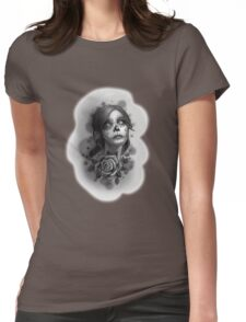 Day of the Dead Girl Black and White Pencil Sketch T-Shirt Womens Fitted T-Shirt
