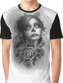 Day of the Dead Girl Black and White Pencil Sketch T-Shirt Graphic T-Shirt