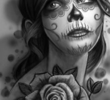 Day of the Dead Girl Black and White Pencil Sketch T-Shirt Sticker