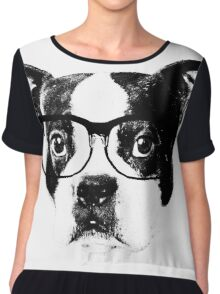 Boston terrier glasses  Chiffon Top