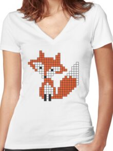 Pixle Fox Women's Fitted V-Neck T-Shirt