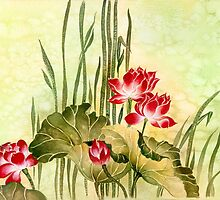 Lotuses in the Grass by Anna Miarczynska