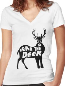 Fear the Deer Women's Fitted V-Neck T-Shirt